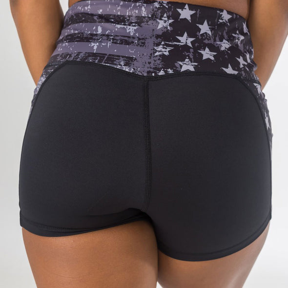 Flag Print Sporty Shorts High Waist Star Stripe Ruched Butt Lifting Shorts Quick Dry Print Push Up Yoga Fitness Shorts Running Shorts