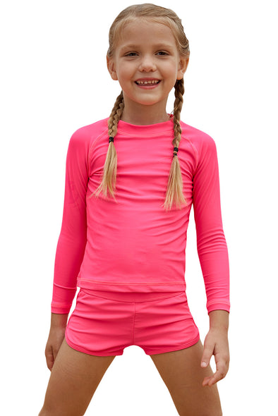 Swimsuitsnova Multicolor Rosy Long Sleeve Rash Guard For Little Girls Swimsuit Two Piece Kid Bathing Suit Sun Protection Quick Dry Boyshorts