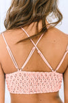 Pink Floral Lace Bralette Hollow Out Lining Crop Tank Top Spaghetti Straps Cami Deep V Neck Lingerie Valentines Day Women