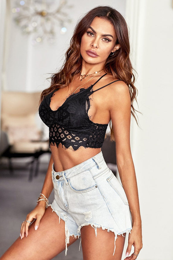 Black Floral Lace Bralette Hollow Out Lining Crop Tank Top Spaghetti Straps Cami Deep V Neck Lingerie Valentines Day Women