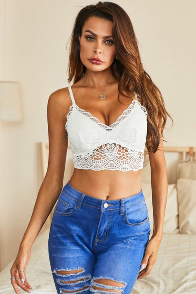 Swimsuitsnova White White Lace Bra Top Crochet Bralette Scalloped Neck Underwear Mesh Hollow Out Lingerie Women Valentines Day