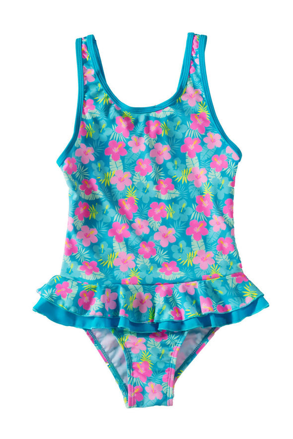 Swimsuitsnova Ruffle Floral Girls One Piece Swimsuit Cute Kid Bathing Monokini Quick-Dry