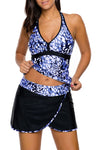 Blue White Spots V-neck Tankini Wrapped Skirt Swimsuit