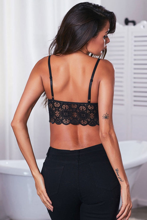 Swimsuitsnova Black Fun Lace Crop Bralette Top Floral Scalloped Neck Spaghetti Straps Lingerie Women Valentines Day