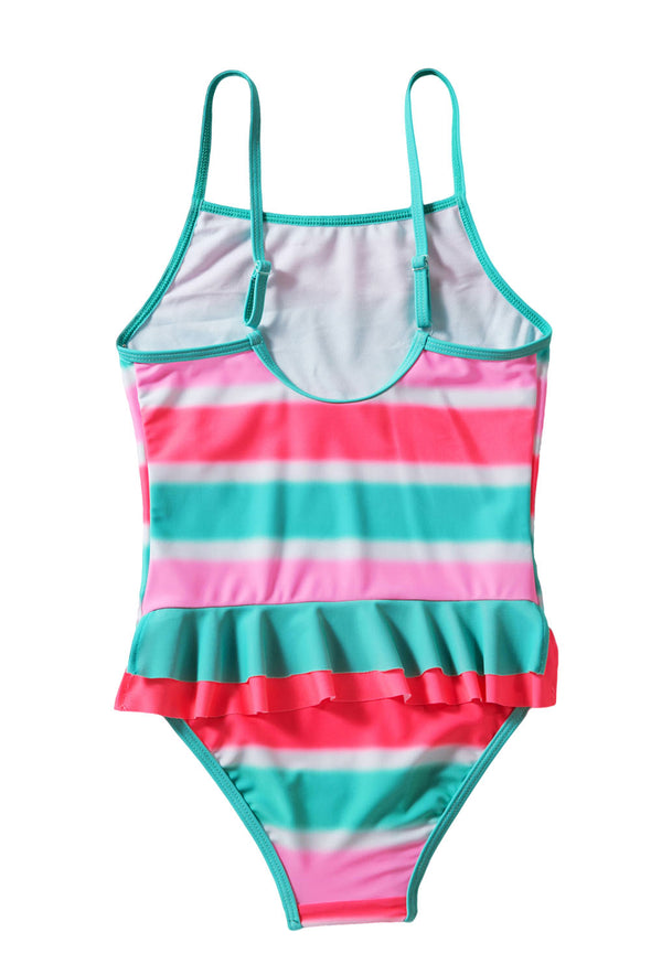 Neon Multicolor Striped Ruffle Trim Teddy Girls One Piece Swimsuit Kid Bathing Suit Monokini