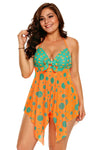 Swimsuitsnova As shown Plus Size Orange Blue Cute Polka Dot Print Swimdress And Shorts Tankini Set Two Piece Swimsuit Women Bathing Suit