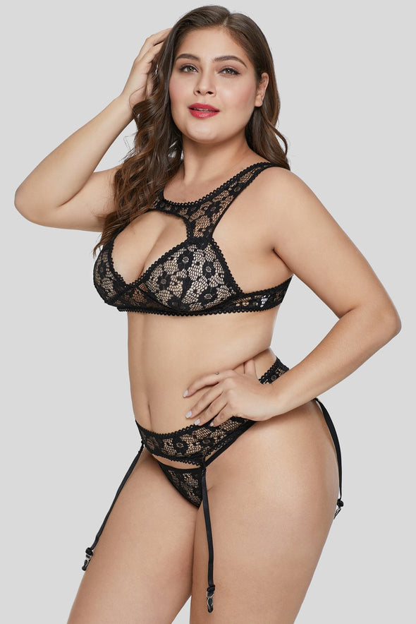 Black Hollow-Out Bust Bralette Set Mesh Floral Lace Plus Size Lingerie Valentines Day Women