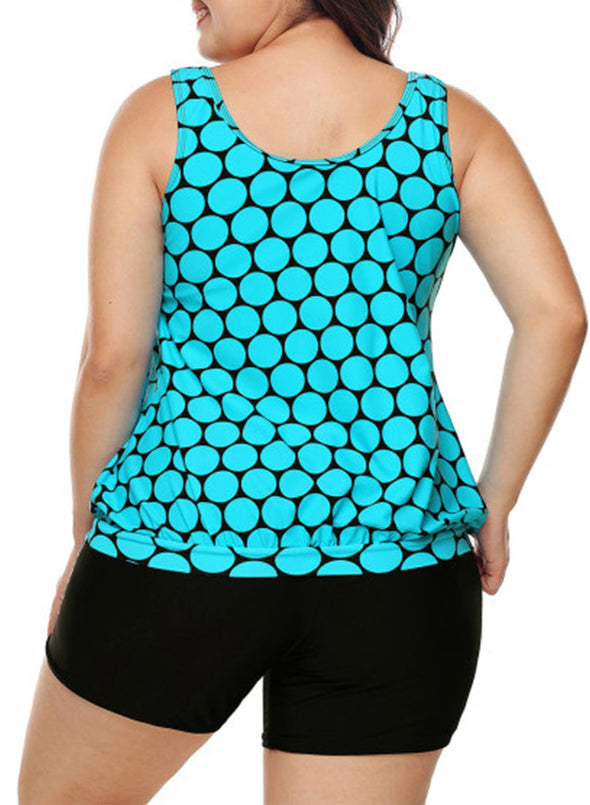 Cyan Black Polka Dot Tank Top and Short Tankini Set Plus Size Racerback Boyshort Two Piece Swimsuits Women Sun Protection Bathing Suit