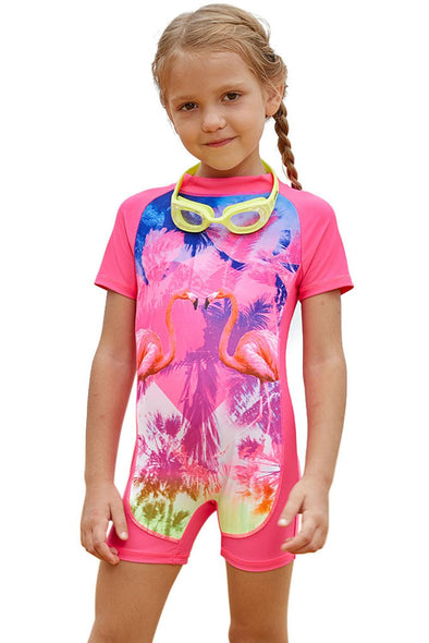 Swimsuitsnova Multicolor Pink Flamingo One Piece Swimsuit Little Girl Zipper Back Short Sleeve Sun Protection Kid Bathing Suit Monokini