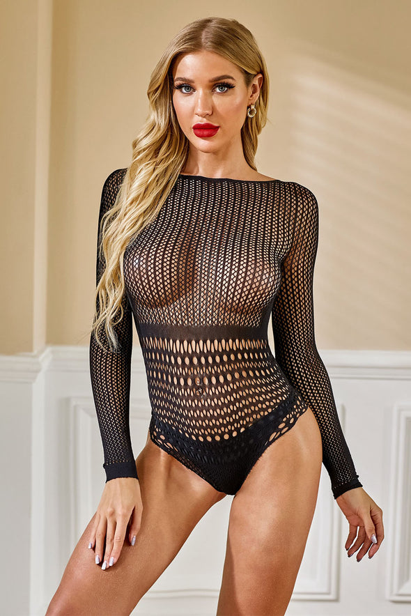 Black Long Sleeve Lace Mesh Teddy Lingerie