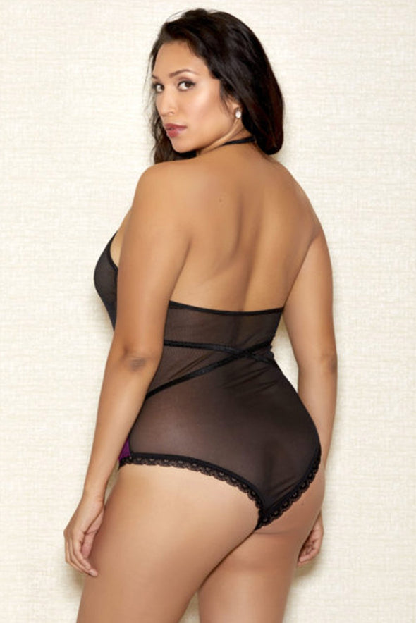 Rose Plus Size Lingerie Lace Backless Halter Teddy Cut Out Bodysuit Mesh Valentines Day Women Sleepwear