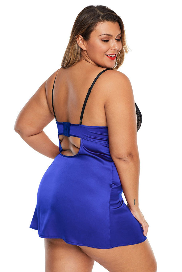 Swimsuitsnova Blue Coloblock Lace Cup Hollow Out Plus Size Babydoll Open Back Mesh Lingerie Sleepwear Valentines Day Women Underwire