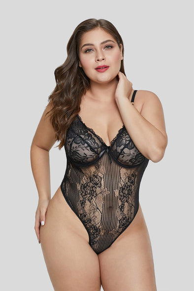 Black Floral V Neck Plus Size Lingerie Teddy Underwire Mesh High Cut Valentines Day Women Sleepwear