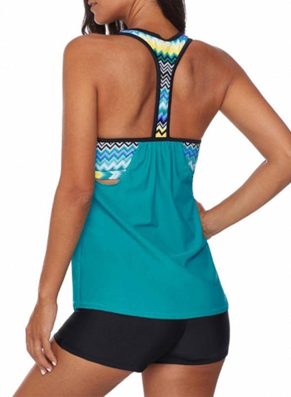 High Waist Print Insert Racerback Tankini Set Patchwork Spaghetti Two Piece Swimsuits Bathing Suit