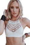 Swimsuitsnova White White Crochet Boho High Neck Bralette Crop Tank Top Hollow Out Cami Lingerie Valentines Day Women