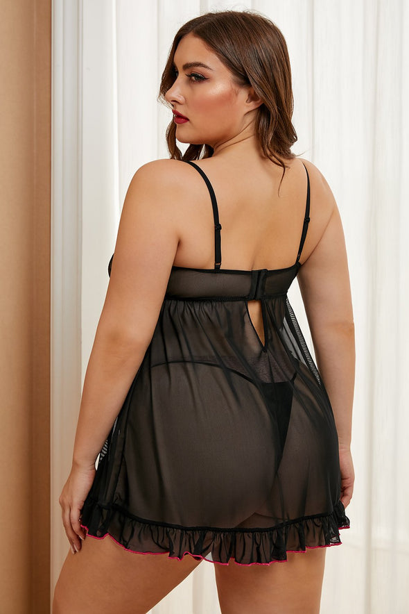 Swimsuitsnova Black Hearts Plus Size Babydoll Ruffle Mesh Lace Up Neck Sheer Valentines Day Women Sleepwear