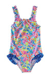 Multicolored Bow Ruffle Girls?¡¥ One Piece Swimsuit