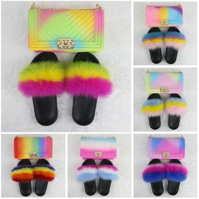 Swimsuitsnova Rainbow Furry Slides with Matching Chain Purses