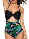 Swimsuitsnova Black Multicolor Floral Panty Swim Maillot