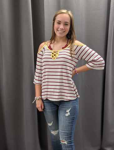 Stripe Cold Shoulder - Large