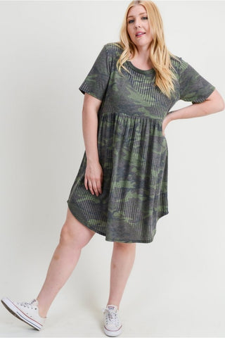 Army T Shirt Dress- Curvy