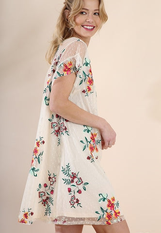 Floral Embroidered Dress - Size Large