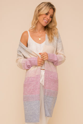 Lavender Color Block Cardigan