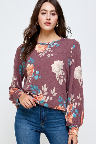 Burgundy Floral Long Sleeve
