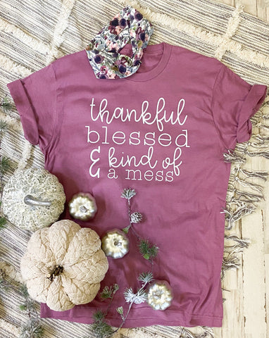Thankful Blessed & Kind Of A Mess Tee - Size XS