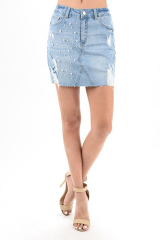 Pearls Denim Skirt