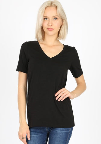 Black Basic V Neck