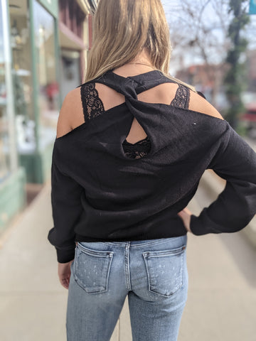 Twisted Cold Shoulder Sweater