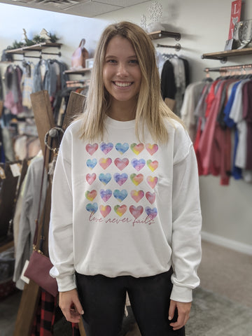 Love Never Fails Crewneck - Size Medium