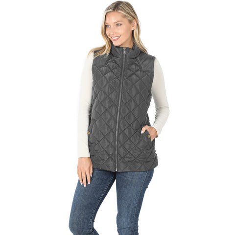 Charcoal Quilted Vest - Size XL