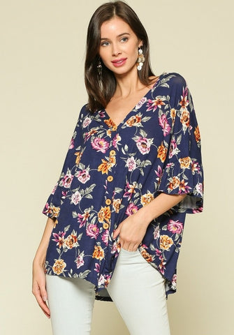 Floral Tie Front Top - Size Small