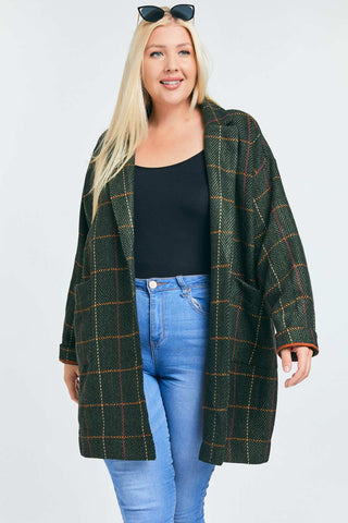 Olive Plaid Peacoat - Curvy