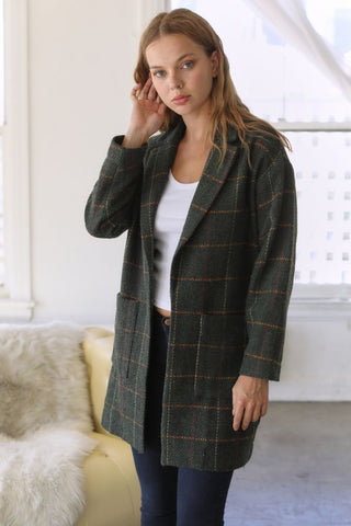 Olive Plaid Peacoat