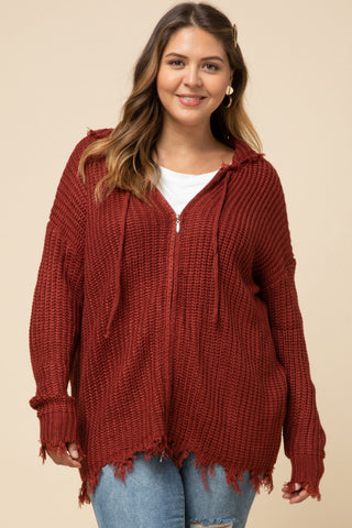 Zipped Fray Sweater - Curvy