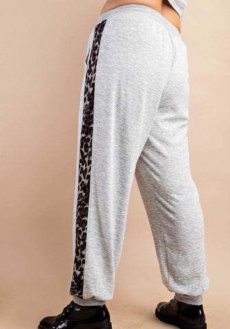 Animal Print Stripe Joggers - Curvy
