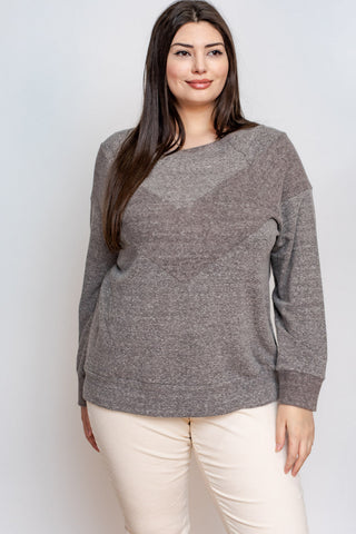 Chevron Crewneck Top - Curvy