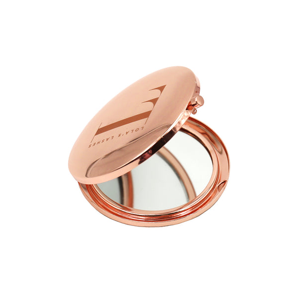 Rose Gold Logo Compact Mirror - Lola's Lashes