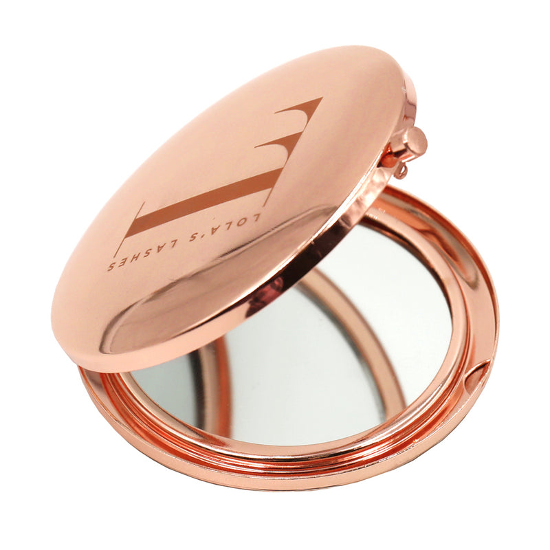 Magnetic Eyelashes and Eyeliner - Rose Gold Logo Compact Mirror - Lola's Lashes