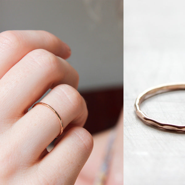 14k Gold Fine Hammered Stacking Ring