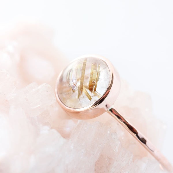 Golden Rutilated Quartz & 14k Rose Gold Ring