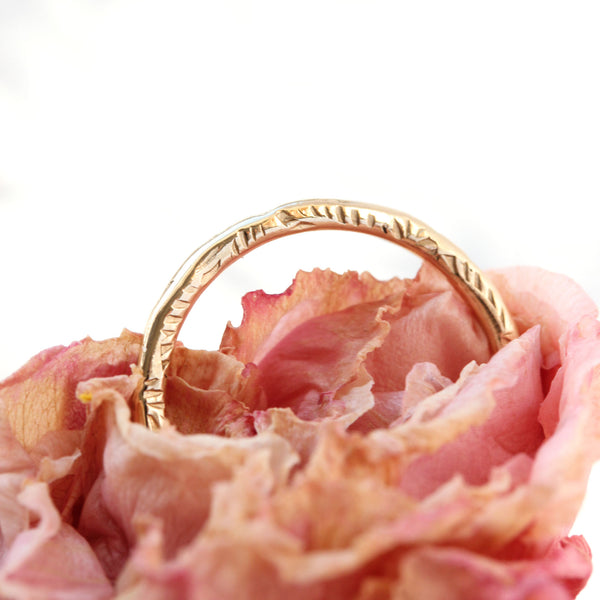 14k gold or sterling silver textured band - The Peony Ring
