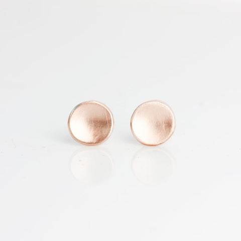 Matte 14k Rose Gold Pebble Stud Earrings