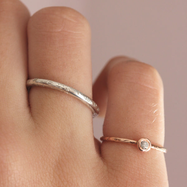 Tiny diamond & 14k rose gold ring - The Jasmine Diamond Ring