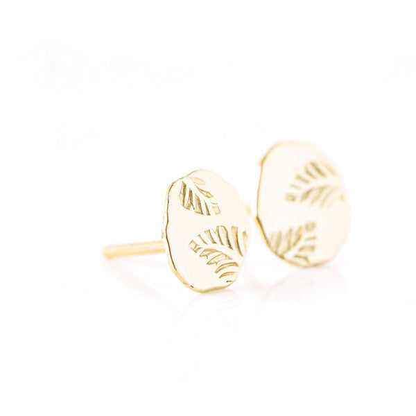 14k gold leaf stud earrings - The Angelica Stud Earrings
