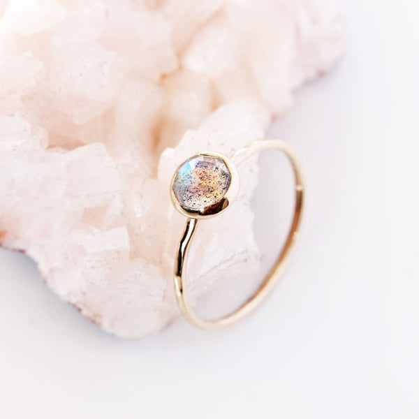 Rose Cut Labradorite & 14k Gold Ring