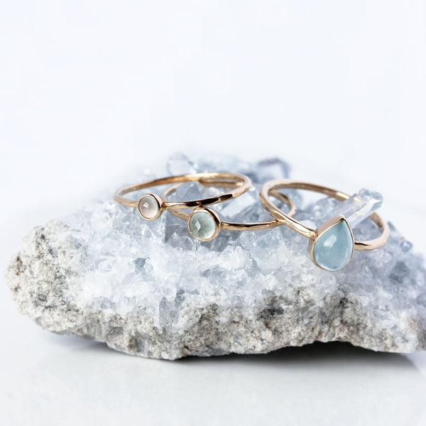 Teardrop Aquamarine & 14k Gold Ring